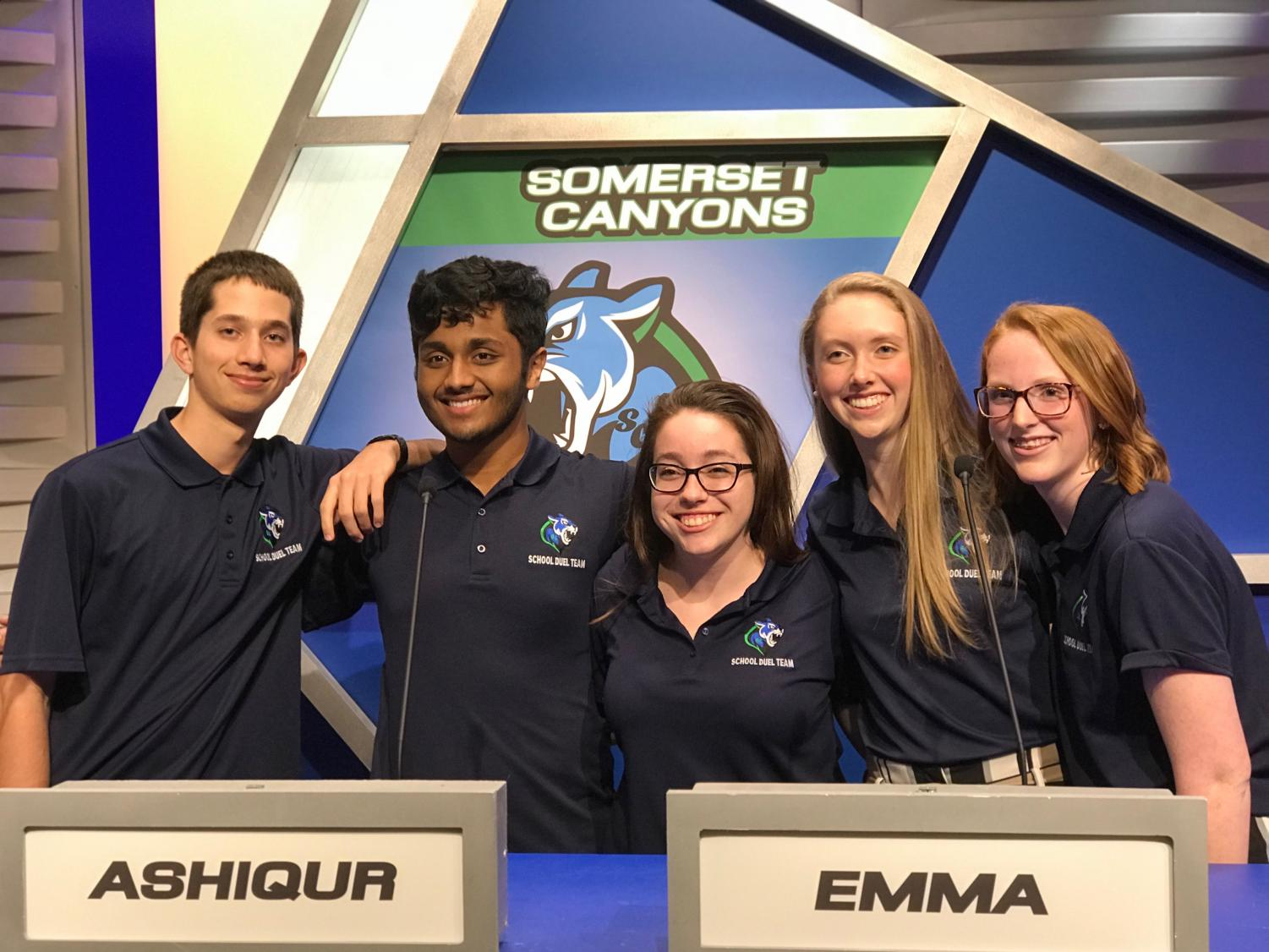 The SC School Duel team with their Sponsor! From left to right: Braden Strackman, Ash Rahman, Ms. Schooley (team sponsor), Emma Carter, and Enya Clancy.