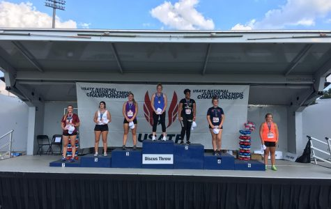 Cara Salsberry (far left) stands with the other All-American competitors from her event.