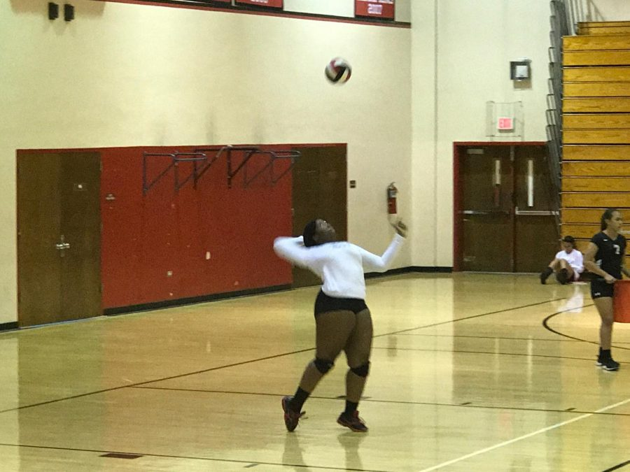 Chinelo Eruchalu is ready to serve the ball.