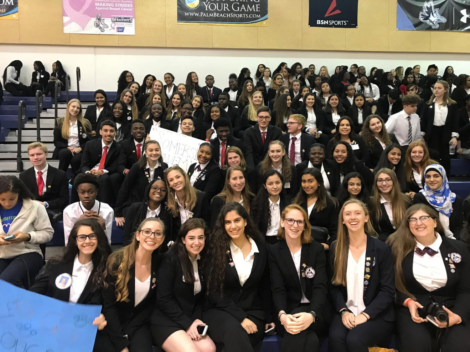 Our HOSA students smile for the camera as they wait to hear the results of the events.