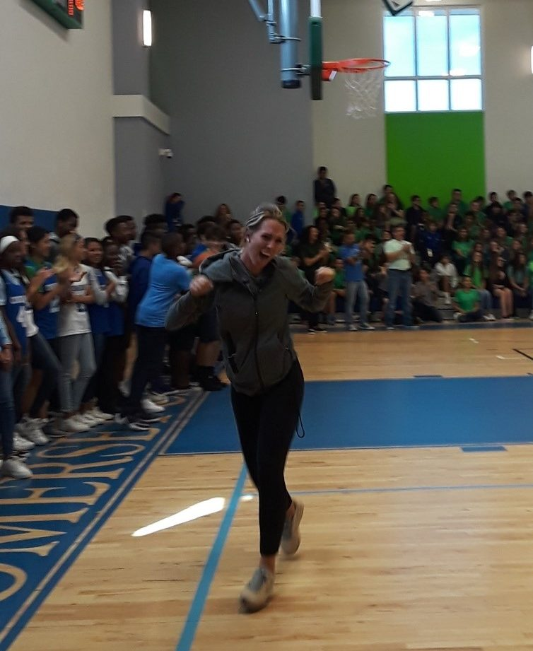 Students+were+not+the+only+ones+to+show+some+spirit%21+Here%2C+Coach+Kennedy+is+celebrating+the+teachers+making+a+basket+during+the+basketball+game.