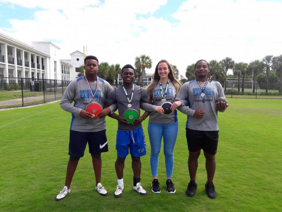 (Left to right) Tremain Robinson, Jobed Phanord, Cara Salsberry, and Giordani Point Du Jour.