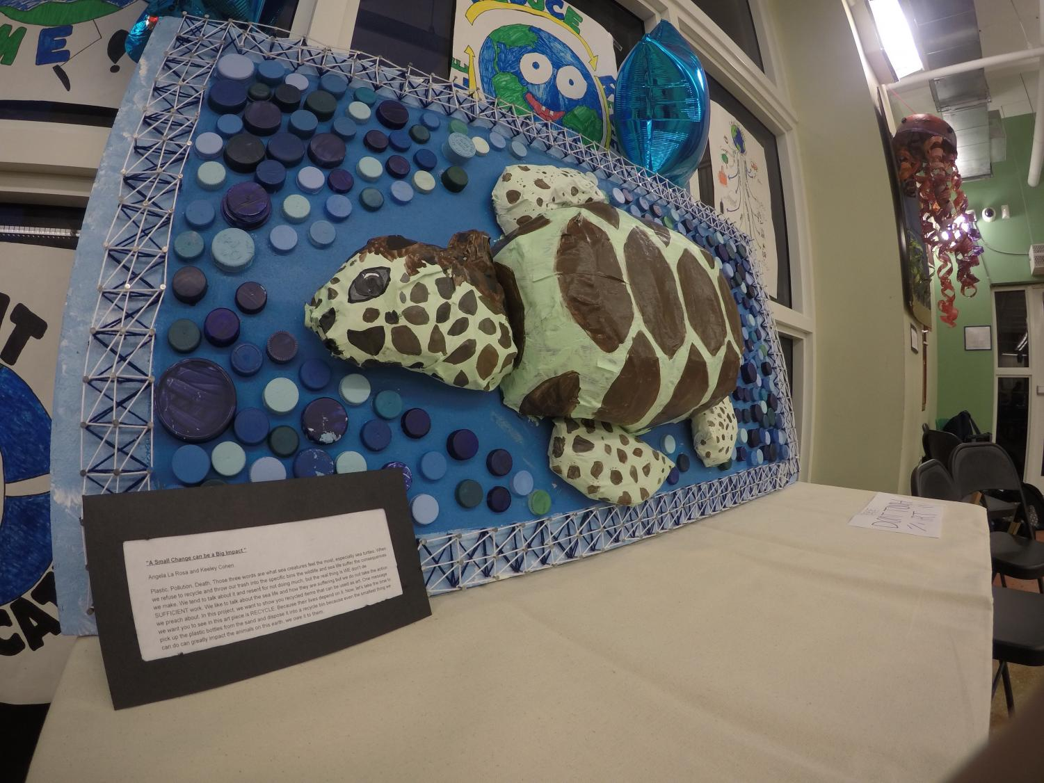 Sea+turtle+art+created+by+our+students+on+display+at+the+Earth+Day+Carnival.