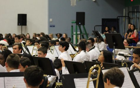 Band students take one more deep breath before they start the Winter Music Concert.