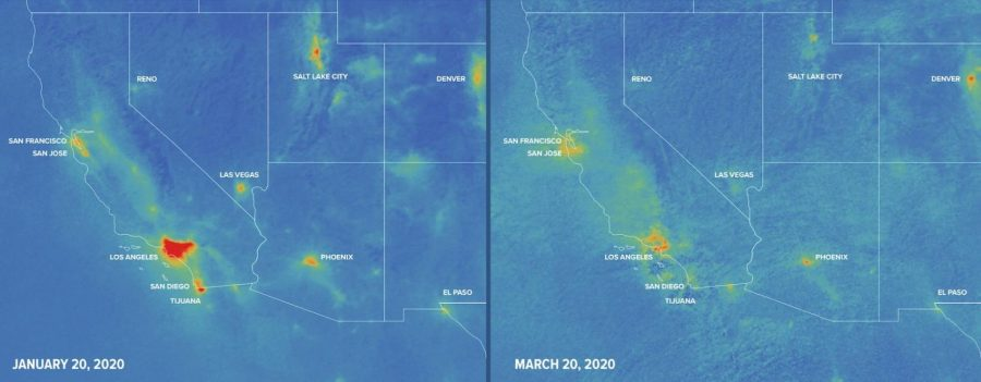 NASA Satellite image showing a comparison of pollution rates between two months in the South-West region of the United States. Image courtesy of 'Space.com'