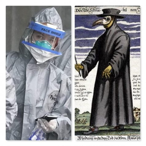 What has changed? For one, major leaps in protective gear when compared with the Doctors during the Black Death.  (courtesy of The Daily Beast and WordPress.com)