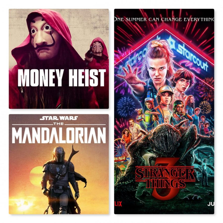 Courtesy of Stranger Things, Money Heist, and Mandalorian