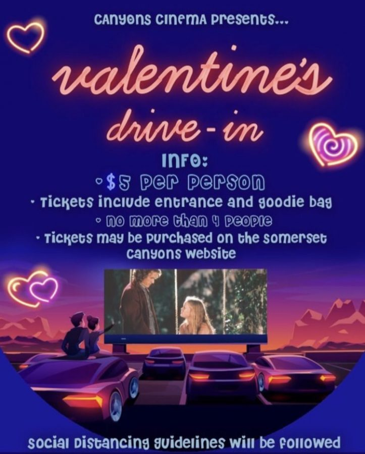 "On Friday February 12, SGA will be hosting a drive-in movie event! For $5, Somerset students can watch the lovable rom-com ""10 Things I Hate About You"" with their friends ( 4 per car). Hope to see you there!"
