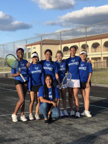 Leyla Redcross, Camilla Palomino, Luciana Lenzi,  Kate Nichols, Ariana Metianu,  Mia Huber and Coach Cadet beam in the glow of victory.